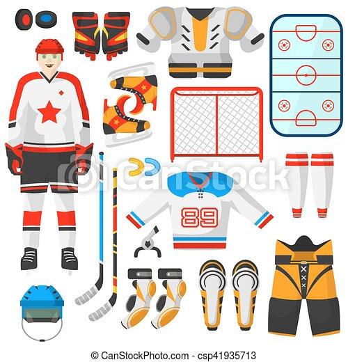 Uniforme de hockey y accesorio en estilo plano. - csp41935713