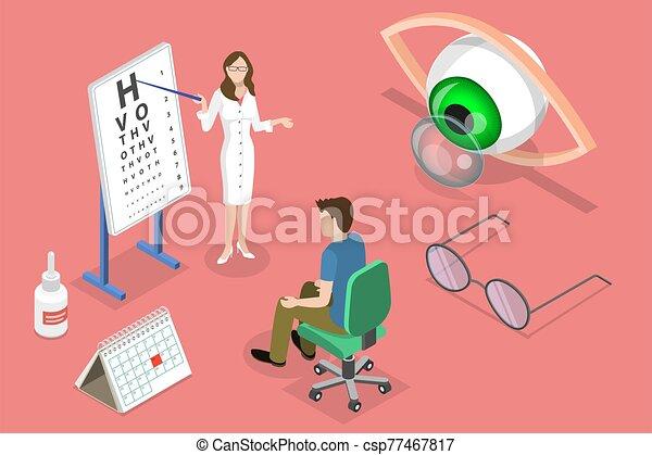 plano, vector, arriba., cheque, concepto, isométrico, vista, oftalmología - csp77467817