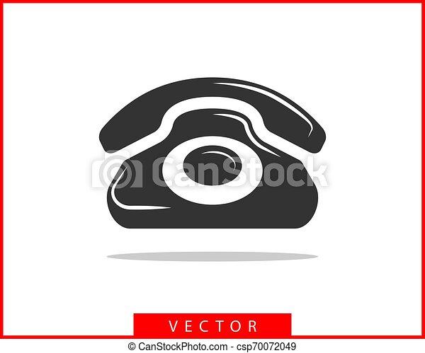 Ilustración de vector de icono. Llama al centro de aplicación. Los íconos de teléfono son de moda. Contáctanos silueta de línea. - csp70072049