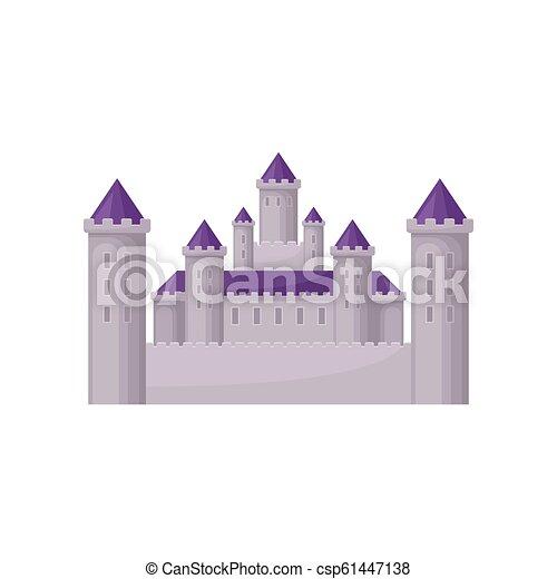 Un castillo de cuento de hadas con torres altas y techos púrpuras. Edificio medieval. Vector plano para niños libro o juego móvil - csp61447138
