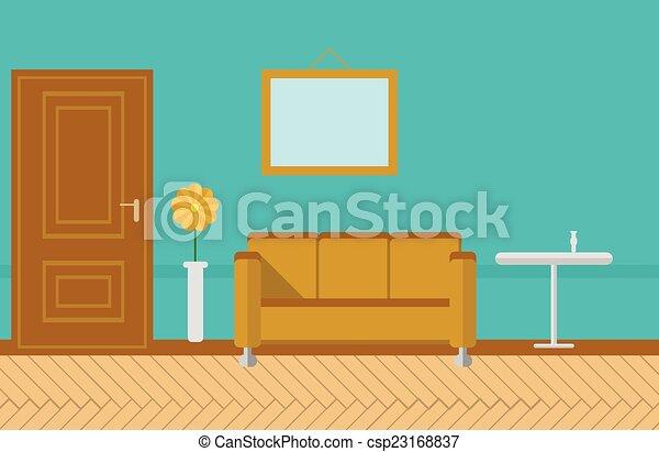 Plano vector sala de estar ilustraci n azul plano for Sala de estar dibujo