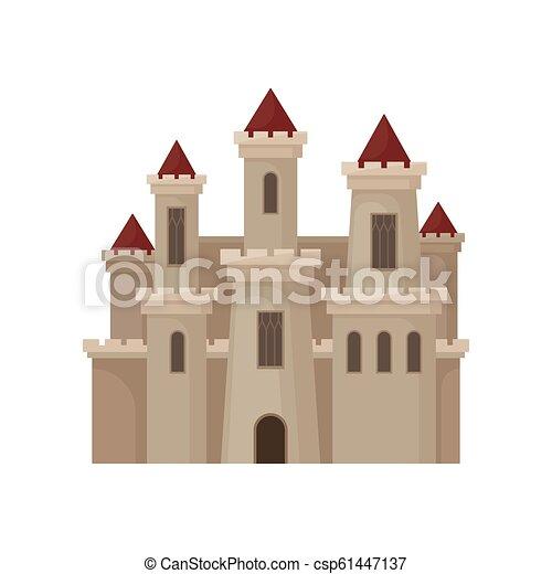 Gran castillo real. Fortaleza con grandes ventanas, torres altas y techos rojos. Vector plano para niños - csp61447137