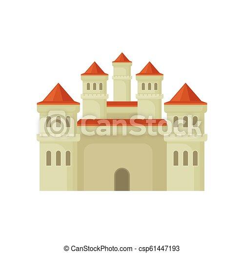 Un gran castillo real con estilo plano. Gran fortaleza con torres altas y techos cónicos rojos. Vector para juegos móviles o libros para niños - csp61447193