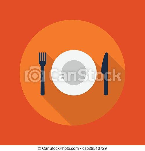 Viaje icono plano. Restaurante - csp29518729