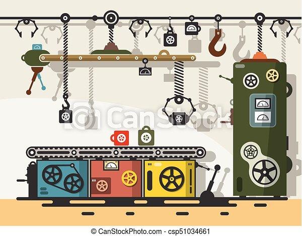 Línea de producción. Vector de diseño plano viejo dispositivo de maquinaria abstracta. - csp51034661