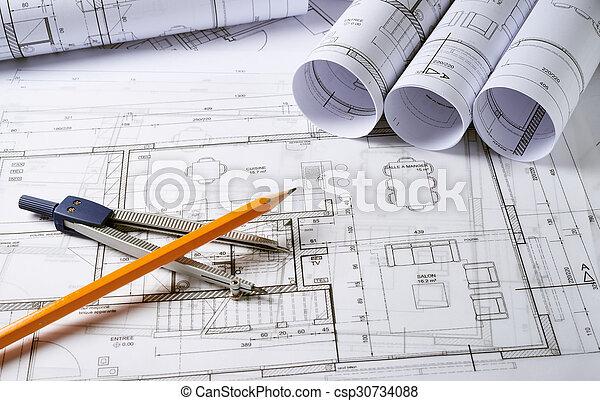 planos, arquitetura, compasso - csp30734088