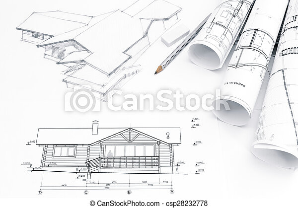planos, rollos, arquitectónico, dibujo - csp28232778