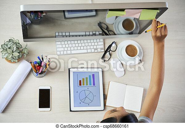 planowanie, kobieta interesu, praca - csp68660161