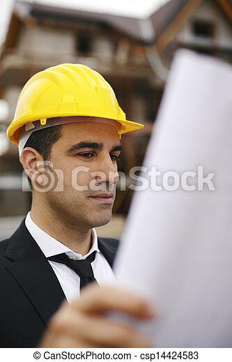 plans bâtiment, site, regarder, construction, architecte - csp14424583