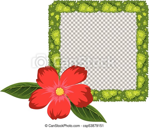 Plant Frame Design With Red Flower Illustration Clipart Vector