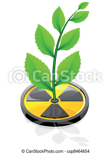 plant growing from a sign radiation - csp8464654