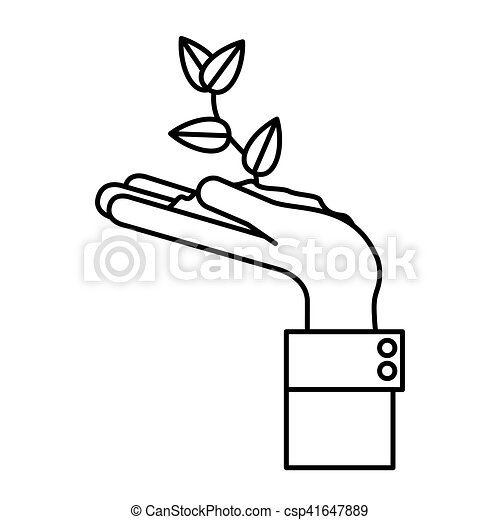 Plant Over Hand Design Plant Over Hand Icon Gardening Nature Green