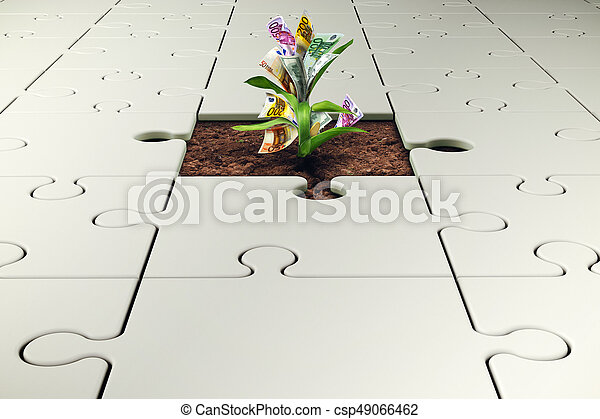 Plant with money grows from a missing piece of puzzle - csp49066462