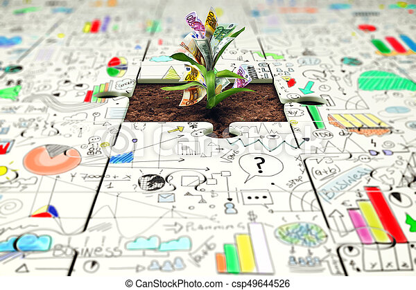 Plant with money grows from a missing piece of puzzle - csp49644526