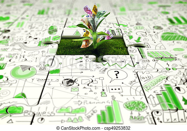Plant with money grows from a missing piece of puzzle - csp49253832