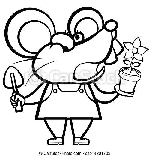 Colorear a un jardinero de ratón con una planta - csp14201703
