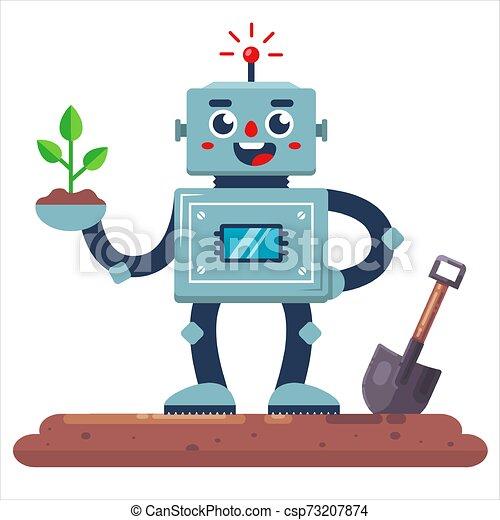 Un jardinero robot con una pala y una planta en la mano. - csp73207874