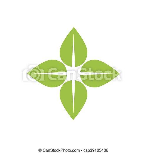 La naturaleza de las hojas planta el ícono verde. Vector gráfico - csp39105486
