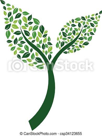 Planta par de hojas con ilustración vectorial - csp34123655