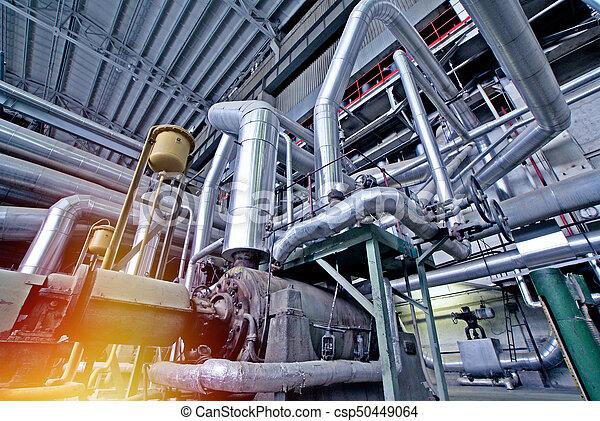 planta, industrial, poder, dentro, modernos, equipamento, tubagem, encontrado, cabos - csp50449064