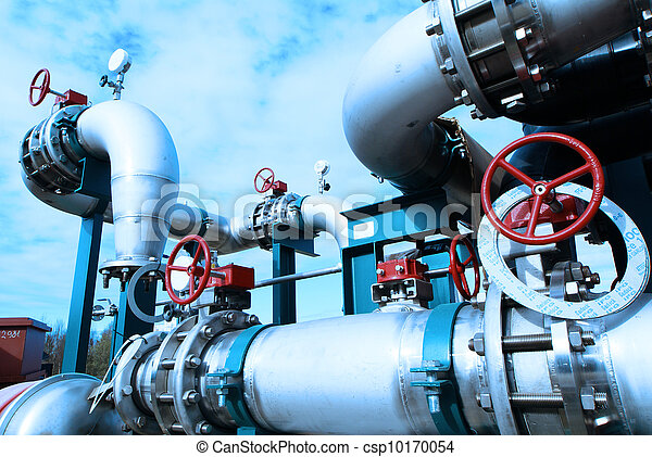planta, industrial, poder, dentro, equipamento, tubagem, encontrado, cabos - csp10170054