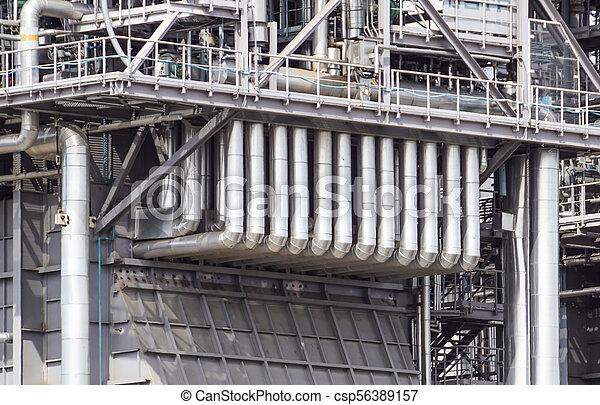 planta, industrial, poder, dentro, equipamento, tubagem, encontrado, cabos - csp56389157