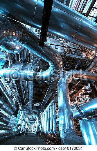 planta, industrial, potencia, dentro, equipo, tubería, fundar, cables - csp10170031