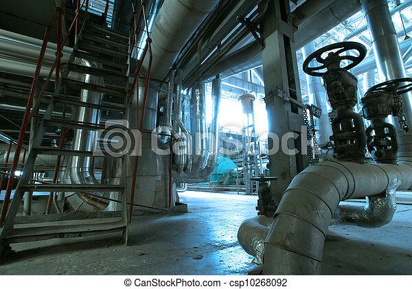 planta, industrial, potencia, dentro, equipo, tubería, fundar, cables - csp10268092