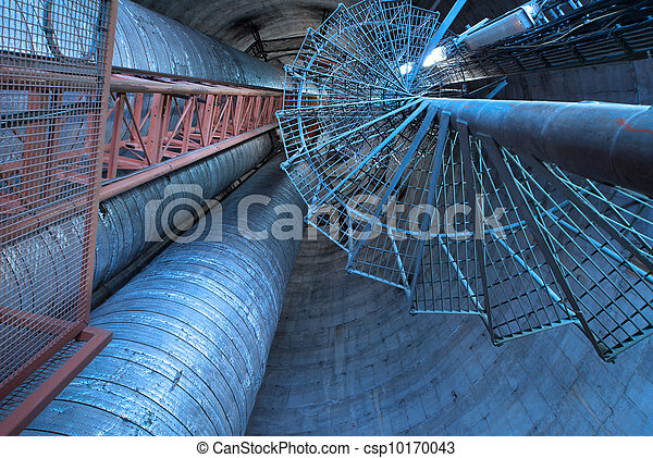 planta, industrial, potencia, escaleras, dentro, equipo, fundar, cables - csp10170043