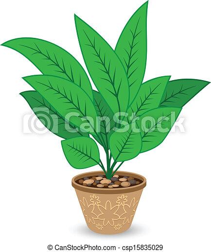 planta, maceta, aislado, plano de fondo, blanco ilustración