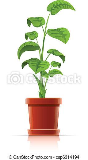 planta, maceta, aislado, ilustración, vector, plano de vector