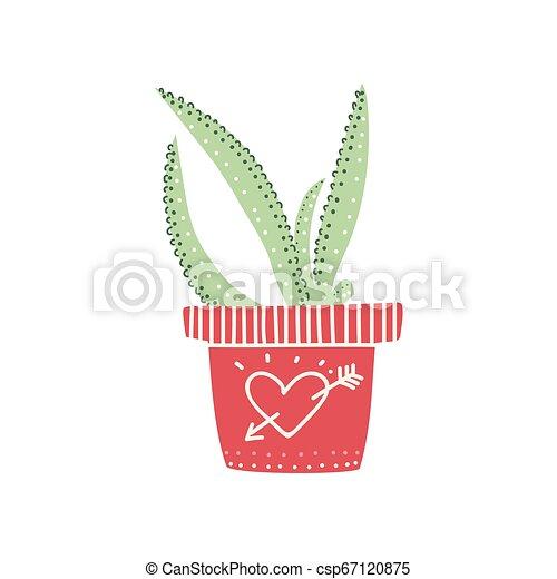 Planta de la casa Aloe creciendo en hierba, elemento de diseño para ilustración de vectores de decoración interior natural - csp67120875