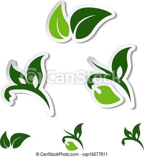 planta, natural, hoja, -, símbolos, vector, pegatinas - csp16277811