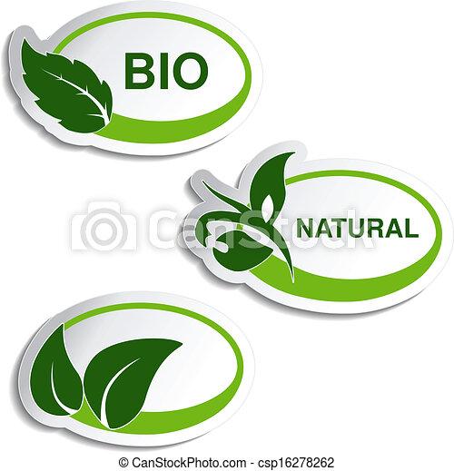 planta, natural, hoja, -, símbolos, vector, pegatinas - csp16278262