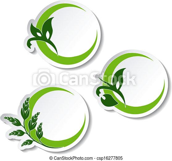 Simbolos naturales vectores, pegatinas con plantas - csp16277805