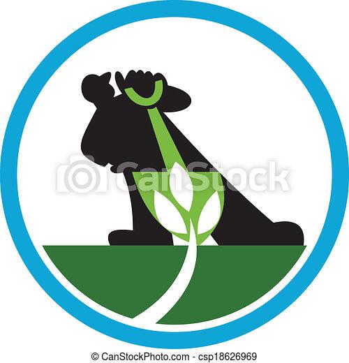 Un agricultor orgánico palea un círculo de plantas - csp18626969