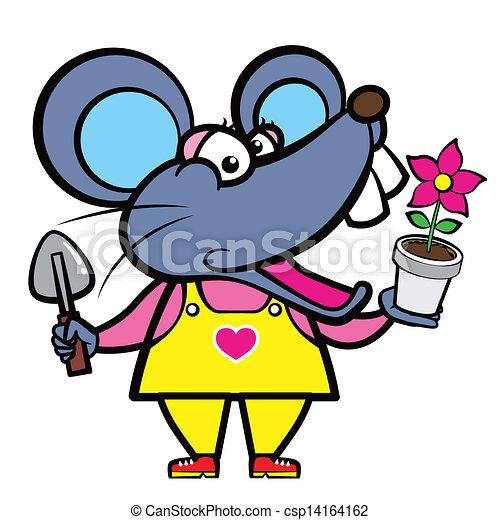 Un jardinero de ratón de cartón con una planta - csp14164162
