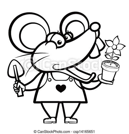 Un jardinero de ratón de cartón con una planta - csp14165651