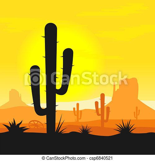 Plantas de cactus en el desierto - csp6840521