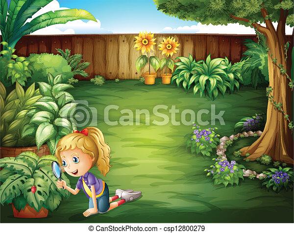 Plantas estudiar ni a jard n ilustraci n ilustraci n for Estudiar jardineria