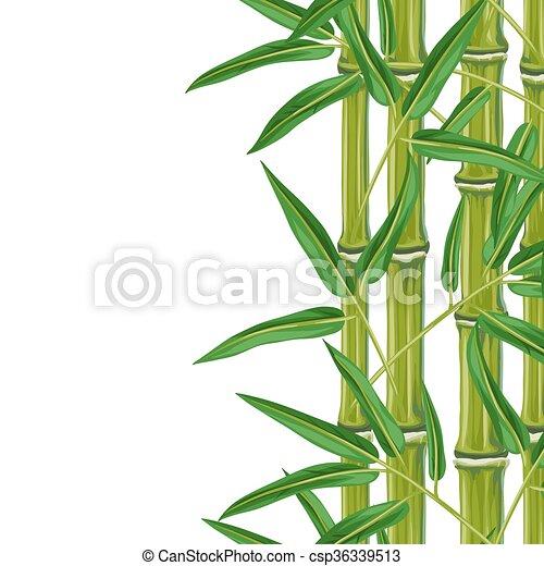Plantas, folhas, borda, seamless, bambu. Plantas, têxtil,... clip ...