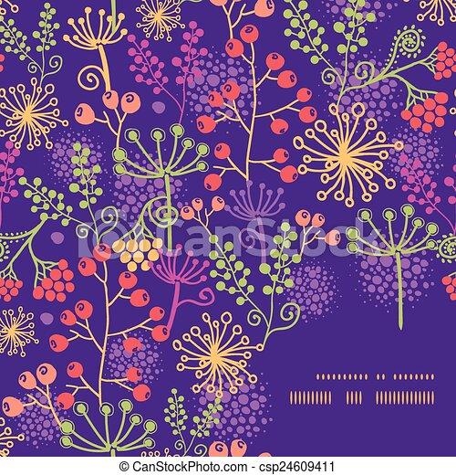 Plantas de jardinería coloridas enmarcan un patrón de fondo - csp24609411