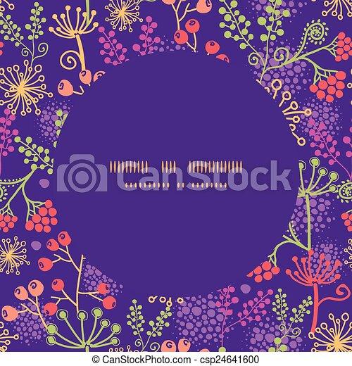 Las plantas de jardines coloridas de Vector enmarcan un fondo de patrones sin costura - csp24641600