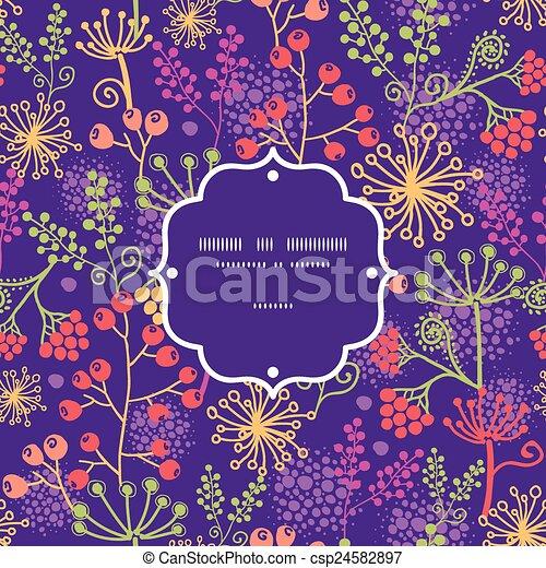 Las plantas de jardines coloridas de Vector enmarcan un fondo de patrones sin costura - csp24582897
