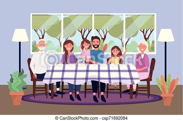 Familia juntas en la mesa con plantas y lámparas - csp71692084