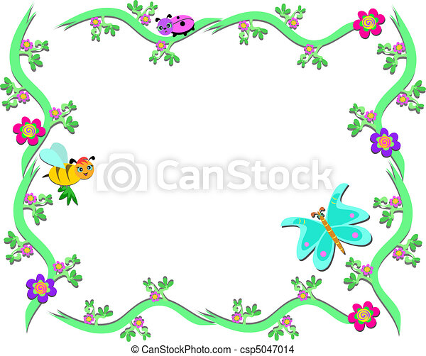 Plantas marco abeja mariquita plantas colorido - Marcos para plantas ...