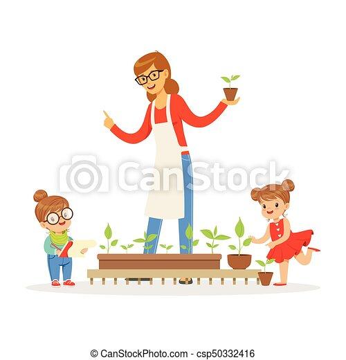 Plantas ni o poco porci n ni a bot nica ilustraci n for Que es jardin de infancia