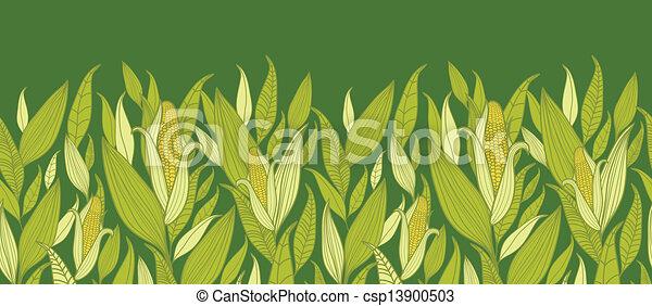 plantas, padrão, milho, seamless, fundo, horizontais, borda - csp13900503