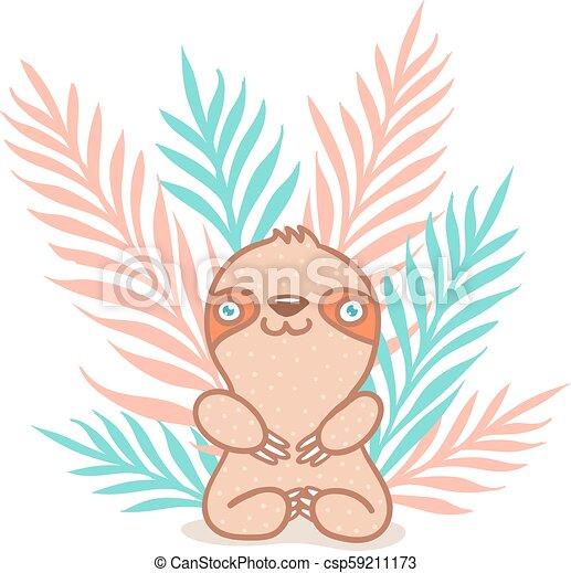 Plantas Sloth y tropicales - csp59211173