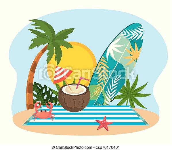 Sol con palmera y tabla de surf con hojas de plantas - csp70170401